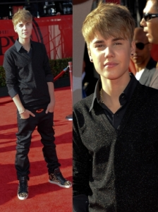 Justin Bieber in All Black Outfit and Spike Sneakers