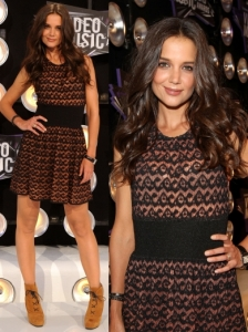 Katie Holmes in Alaia Woven Mini Dress