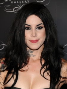 Kat von D Long Brunette Hairstyle