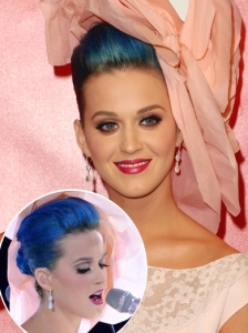 Katy Perry Volumized Chignon with Fascinator