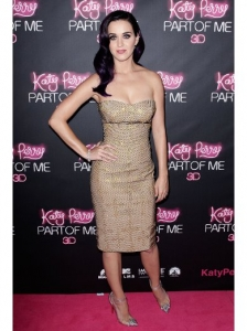 Katy Perry in Versace Strapless Sequined Dress