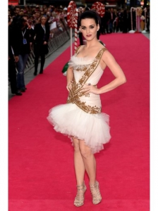 Katy Perry in Marchesa White and Gold Dress