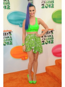 Katy Perry in Gerlan Jeans Slime Bra Top and Skirt