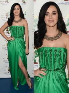 Katy Perry in Yves Saint Laurent Green Dress