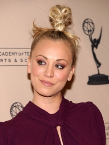 Kaley Cuoco Top Knot Hairstyle
