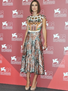 Keira Knightley in Mary Katrantzou Mid-Length Dress