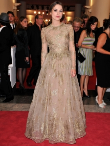 Keira Knightley in Valentino Couture Gold Gown