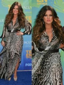 Khloe Kardashian in Roberto Cavalli Animal Print Dress