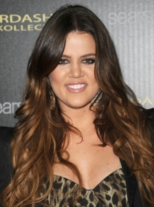 Khloe Kardashian with Shiny Ombre Waves
