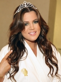 Khloe Kardashian Curly Hairstyle with Tiara