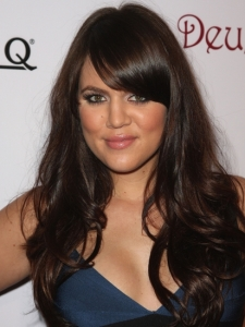 Khloe Kardashian's Hairstyle with Side Bangs