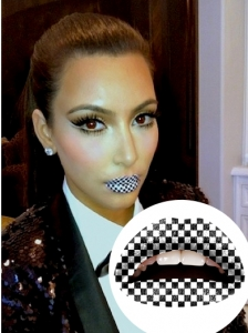 Kim Kardashian Tries Temporary Lip Tattoo