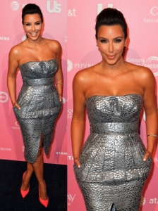 Kim Kardashian in Catherine Maladrino Silver Dress