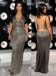 Kim Kardashian in Kaufman Franco V-Neck Gown