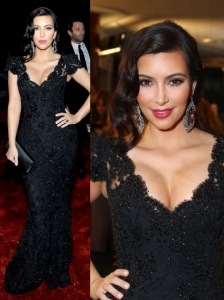 Kim Kardashian in Bruce Oldfield Lace Gown