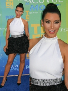 Kim Kardashian in Givenchy Stretch Cady Ostrich Dress
