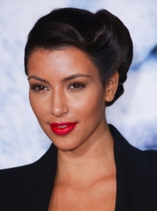 Kim Kardashian Updo Hairstyle with Side Roll