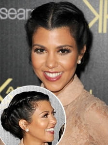 Kourtney Kardashian Double Braid Updo