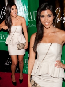 Kourtney Kardashian in Alice + Olivia Leather Dress