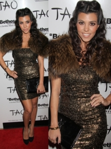 Kourtney Kardashian in Alice + Olivia Sequin Dress