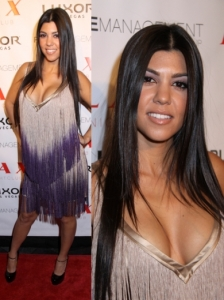 Kourtney Kardashian in Foley + Corinna Fringe Dress