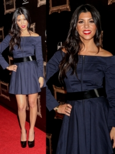 Kourtney Kardashian in Olivia Off the Shoulder Dress