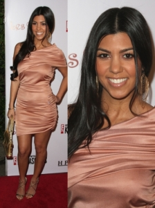 Kourtney Kardashian in Pink Draped Dress