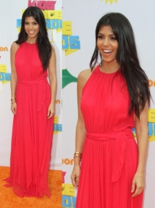 Kourtney Kardashian in Vintage Coral Maxi Dress