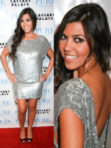 Kourtney Kardashian Silver Sequin Dress
