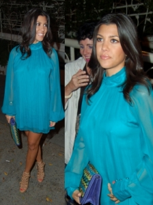 Kourtney Kardashian in Turquoise Mini Dress