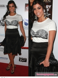 Kourtney Kardashian in Flare Skirt and Tee