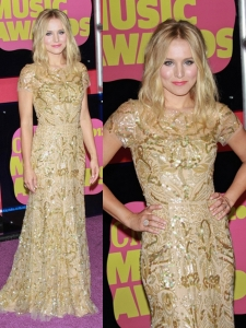 Kristen Bell in Reem Acra Gold Gown