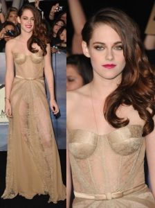 Kristen Stewart in Zuhair Murad Nude Sheer Dress