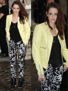 Kristen Stewart in Balenciaga Jacket, Pants and Shoes