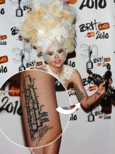 Lady Gaga's Quote Tattoo and Little Monsters Arm Tattoo