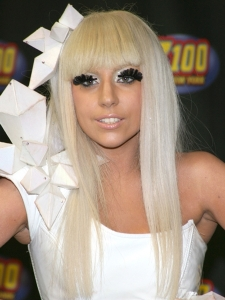 Lady Gaga's Long Blonde Hairstyle with Bangs