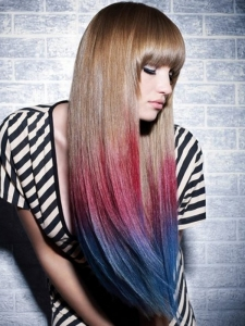 Pink/Blue Dip-Dyed Hair Color