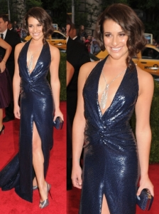 Lea Michel in Diane von Furstenberg Sequin Gown