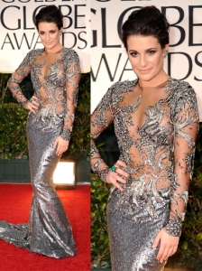 Lea Michele in Marchesa at 2012 Golden Globes