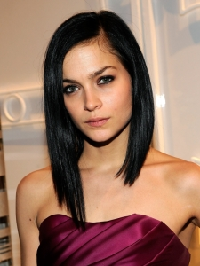Leigh Lezark Long Asymmetric Bob Hairstyle