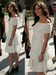 Leighton Meester in Dior Layered Dress