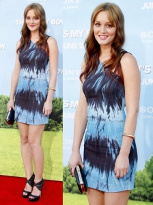 Leighton Meester in Versus Tie Dye Dress