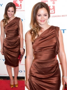 Leighton Meester in One Shouldered  Vera Wang Dress