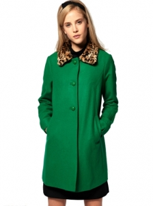Leopard Collar 60s Coat