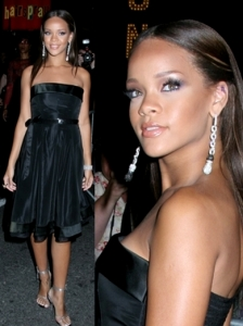 Rihanna in Black Taffeta Dress