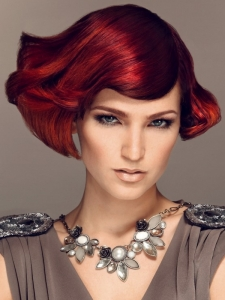 Medium Fiery Red Hairstyle