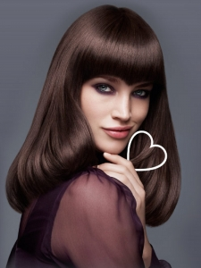 Glossy Long Hairstyle With Blunt Bangs
