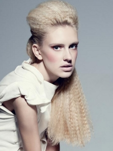 Long Crimped Half Updo