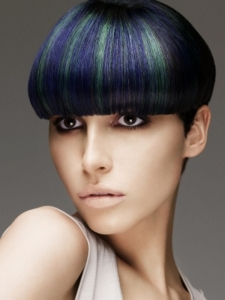 Green and Blue Hair Highlights