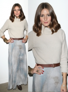 Olivia Palermo in Sweater and Maxi skirt
